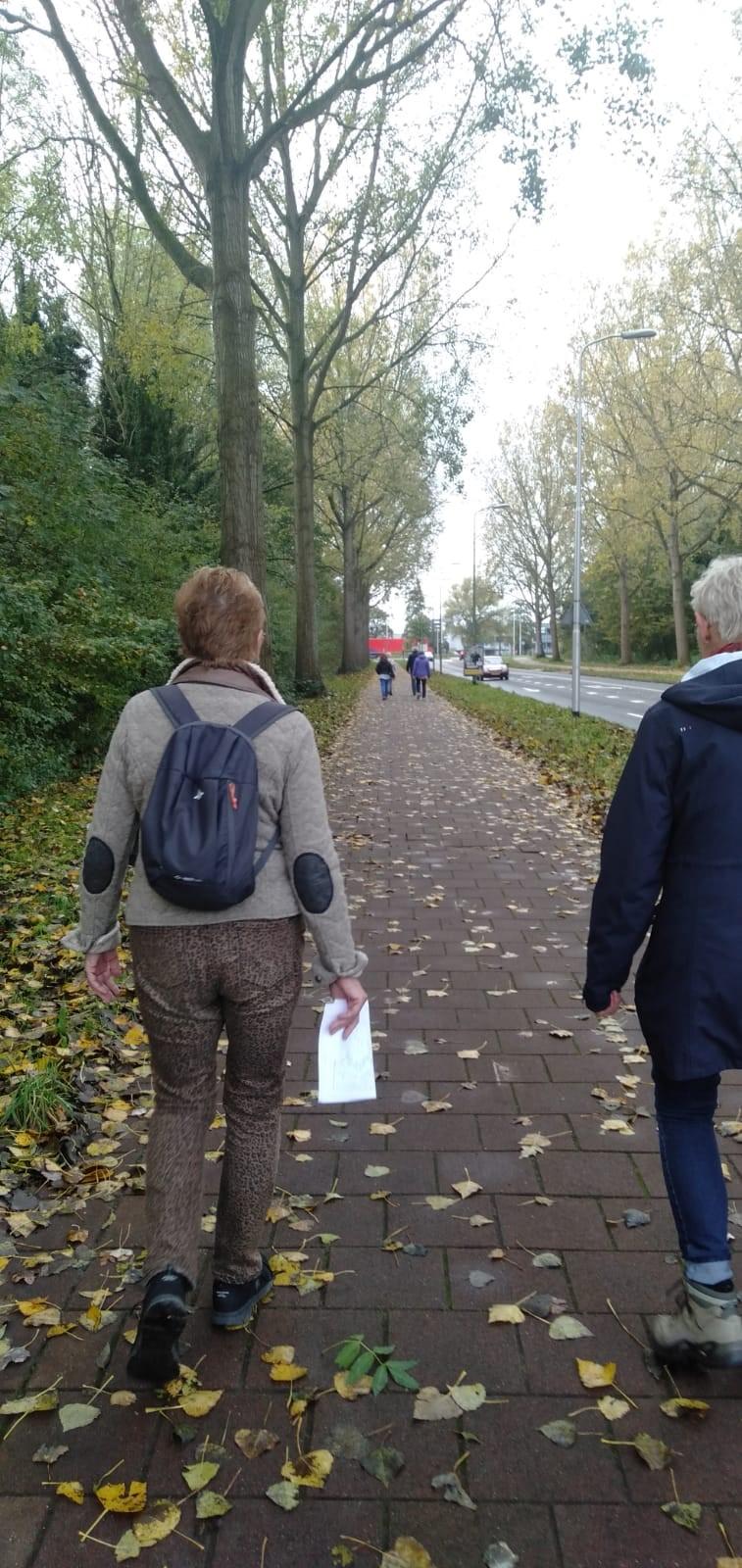 wandelaars in groepjes onderweg