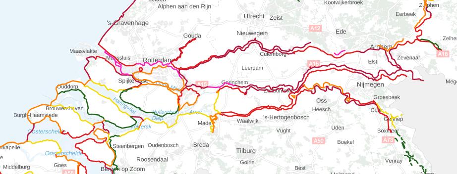 landkaart met waterkering