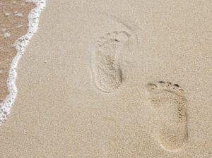 voetafdruk in zand
